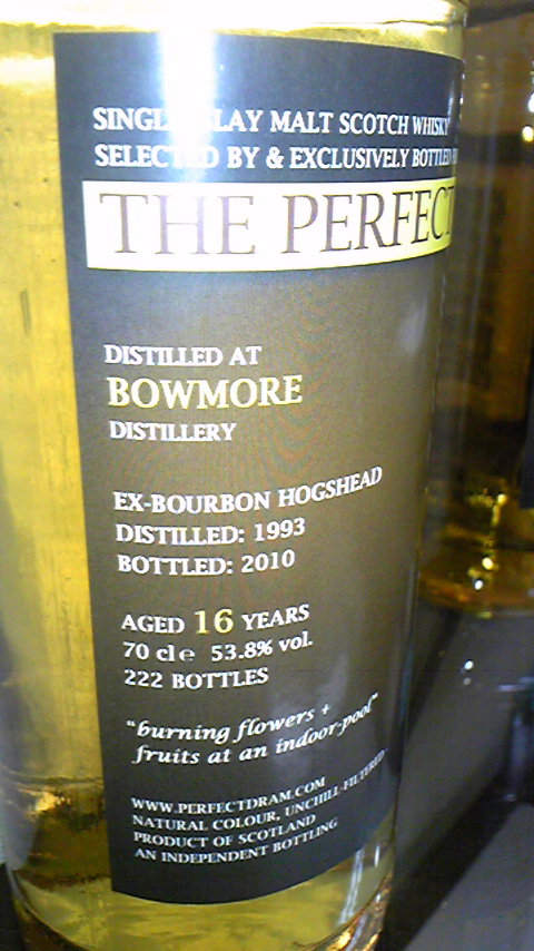 "ボウモア Bowmore 16yo 1993/2010 (53.8%, The Whisky Agency, ""Pefect Dram"", 2nd, 222Bts) ex-bourbon hogshead   ""burning flowers + fruits at an indoor-pool"""