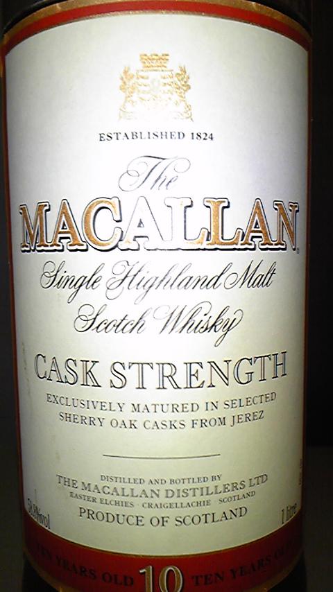 マッカラン Macallan 10yo 'Cask Strength' (58.8%, OB, 100cl)