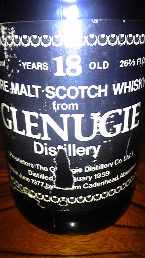 グレンアギー Glenugie 18yo 1959/1977 (80° Proof, Cadenhead's, Dumpy, Black Lbl, D01/'59 B06/'77, 26 2/3 Flozs)