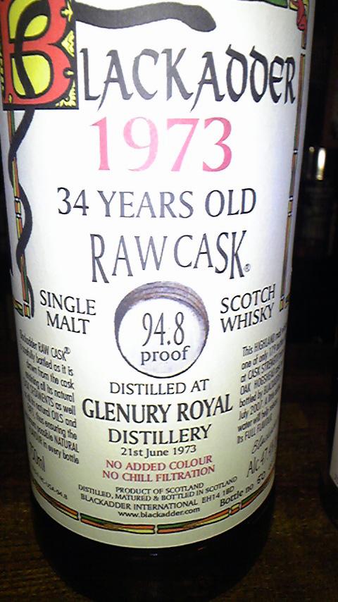 グレンユーリーロイヤル Glenury Royal 34y 1973 (47.4%, Blackadder RC, 179 Bts. C#6864)