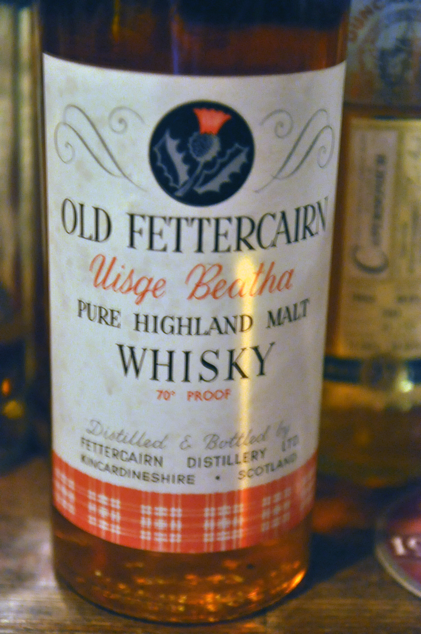 """フェッターケン Old Fettercain NAS """"Uisge Beatha"""" (70Proof, OB, tall bottle, Thistle)"""