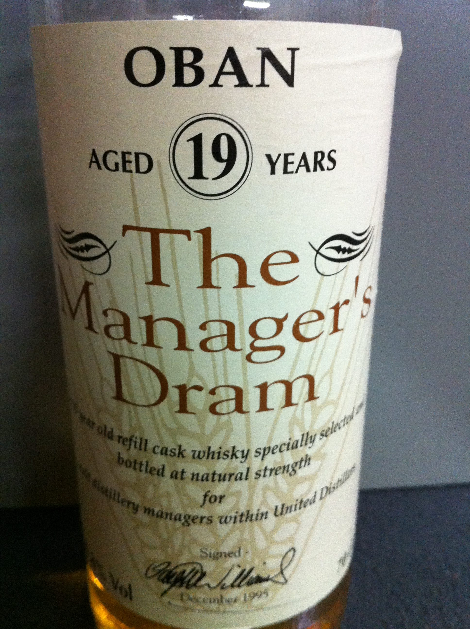 【Blind Tasting】【23-01-D】 Oban 19yo (59.8%, The Manager's Dram, B12/'95) 1995