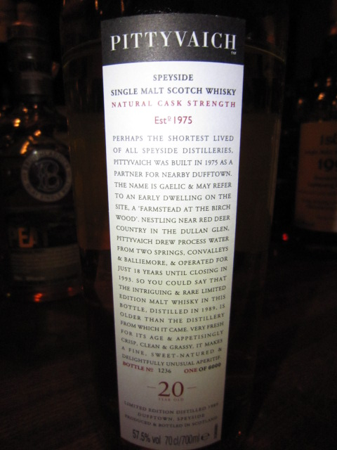 ピティヴェアック Pittyvaich 20y 1989/2009 (57.5%,OB, 1236/6000 Bts.) 日本正規 refill American Oak casks