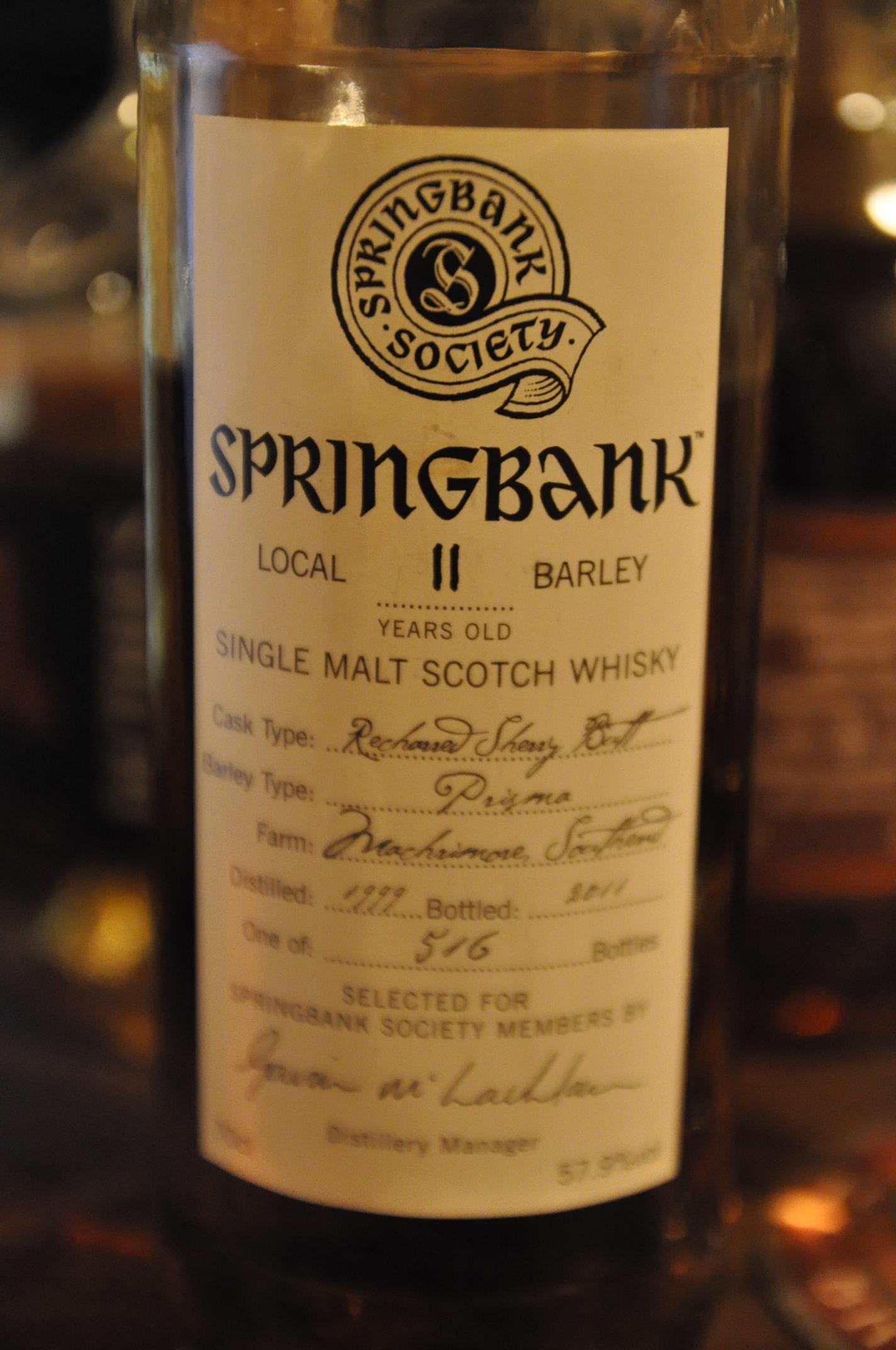 """スプリングバンク Springbank """"Local barley"""" 11yo 1999/2011 (57.9%, OB, Recharred Sherry Butt, 516bts)"""