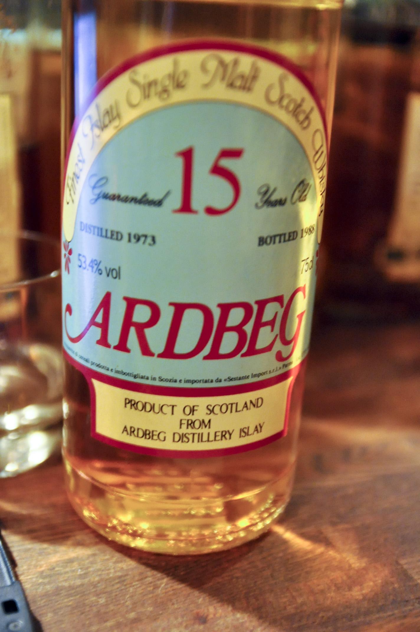 アードベッグ Ardbeg 15 yo 1973/1988 (53.4%, Sestante, clear glass, yellow/green label)