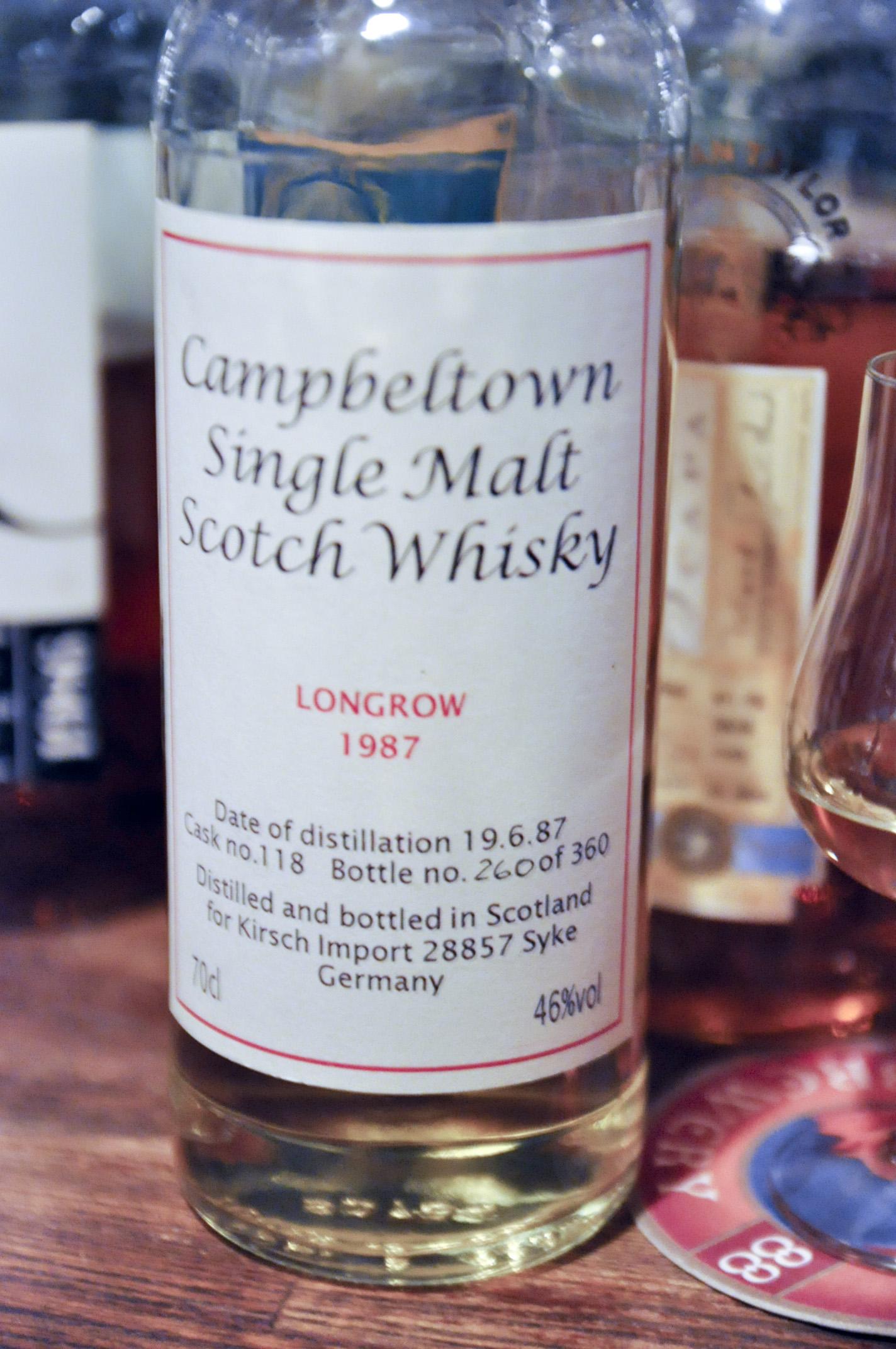 ロングロウ Longrow 1987/1996 (46%, Kirsch Import, cask #118, 360btls)