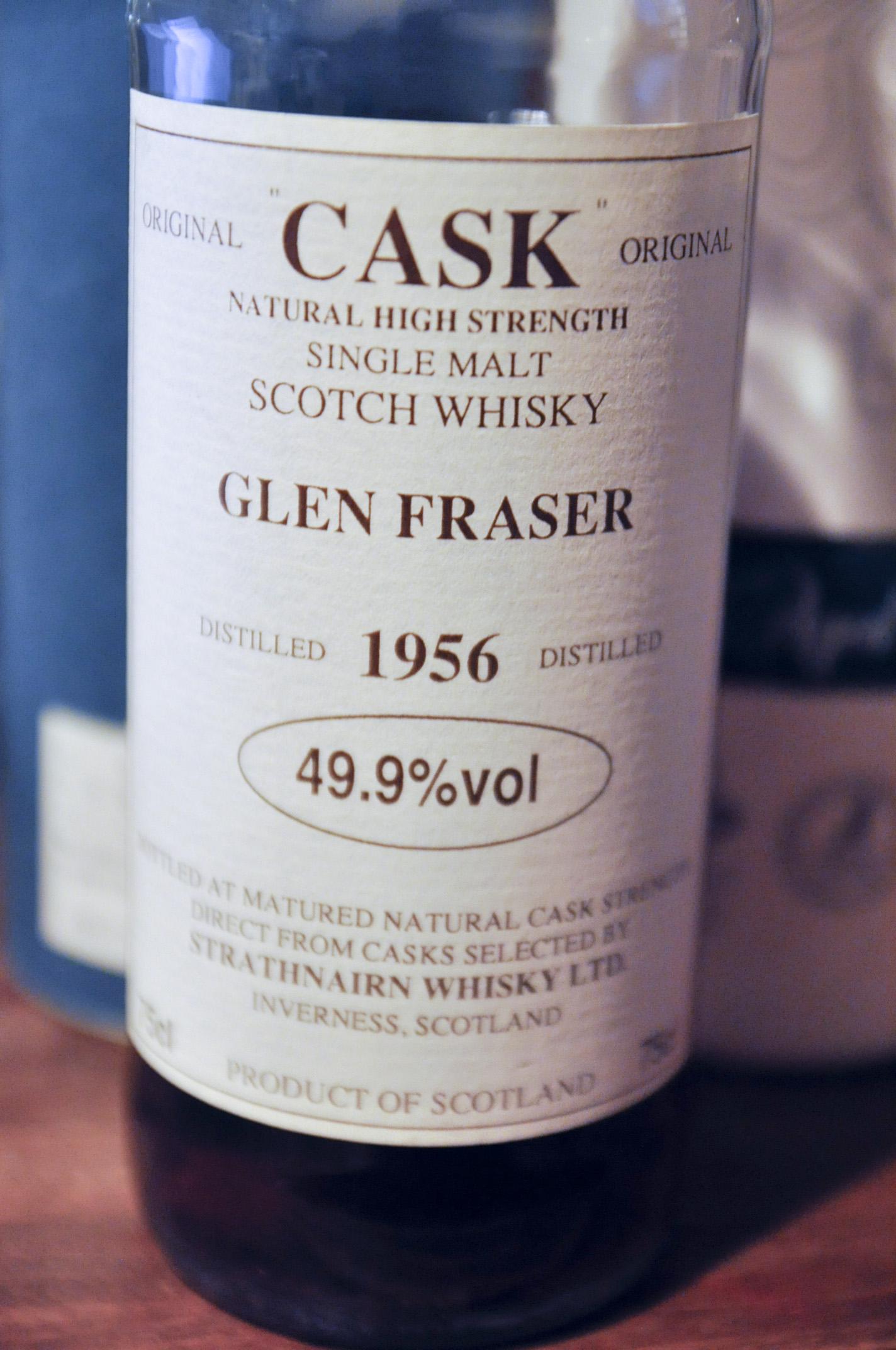 """グレンフレイザー(ロイヤルブラックラ) GlenFraser(Royal Brackla) 1956 (49.9%,G&M,""""cask"""", white label)"""