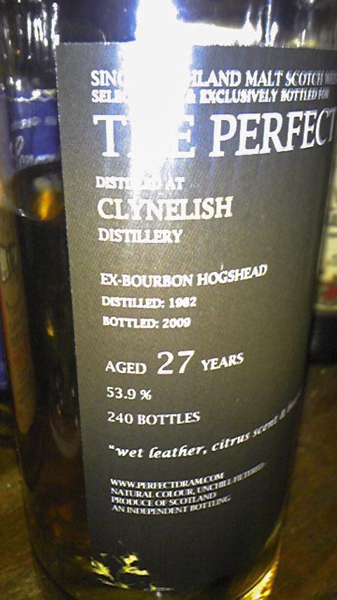 クライネリッシュ Clynelish 1982/2009  Ex-Bourbon Hogshead Distilled: 1982 Bottled: 2009 Aged 27 Years 53.9% 70 cl 240 Bottles