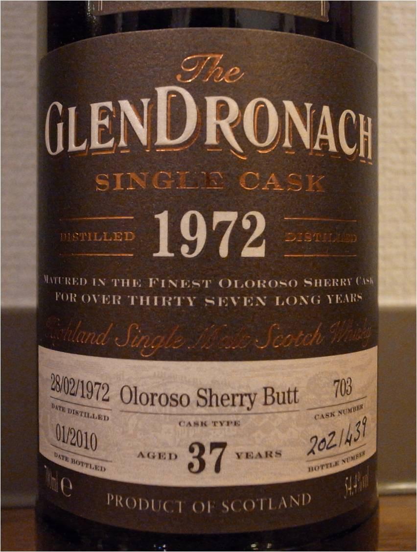グレンドロナック GLENDRONACH 1972-2010 37yo OB for WHISK-E #703 54.4%