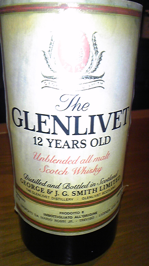 グレンリベット Glenlivet 12y (43%, OB, Cream cap, 'Unblended all malts')